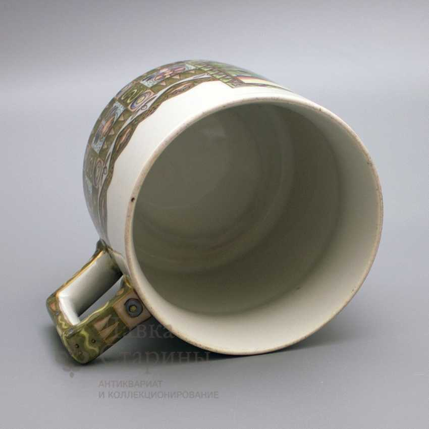 """Mug in the Russian style """"knight at the crossroads"""", the ZFA porcelain Verbilki, 1930s years - photo 4"""