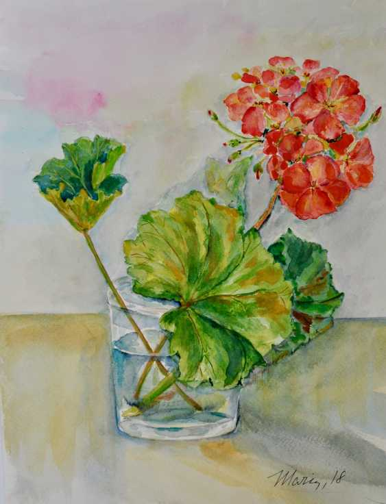 Maryna Pashchenko. The branch of geranium in the glass. - photo 1