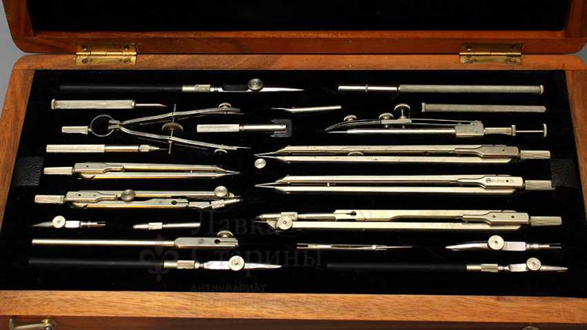 "Vintage German set of tools for sketching (drawing) ""Präcision"" (Accuracy), Gebr. Wichmann M. B. H., Berlin Richter. Co - photo 5"