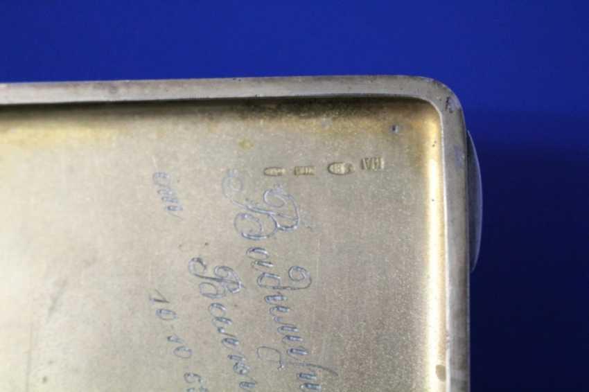 Cigarette case (84 alloy, carving, gilding, emerald) - photo 4