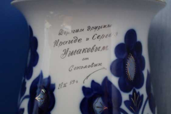 "Vases pair of ""Blue flowers"" (dedicatory, 35 cm), LFZ - photo 3"