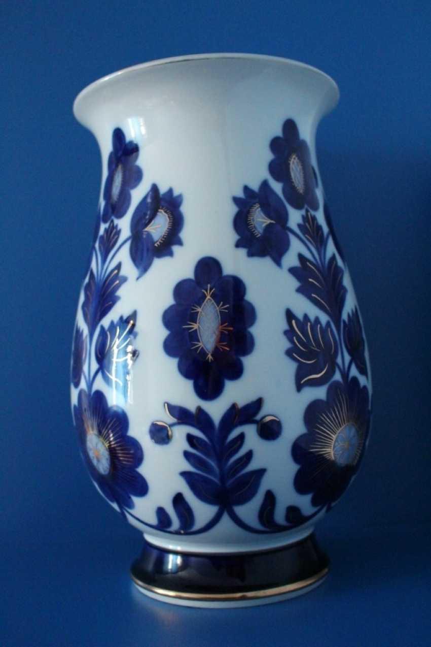"Vases pair of ""Blue flowers"" (dedicatory, 35 cm), LFZ - photo 1"