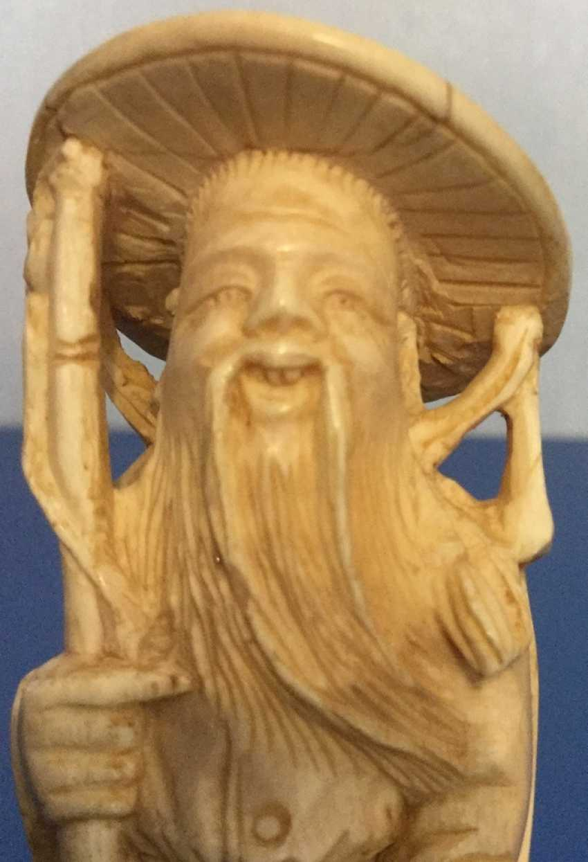 """Окимоно """"vieil homme"""", ivoire, Chine - photo 2"""