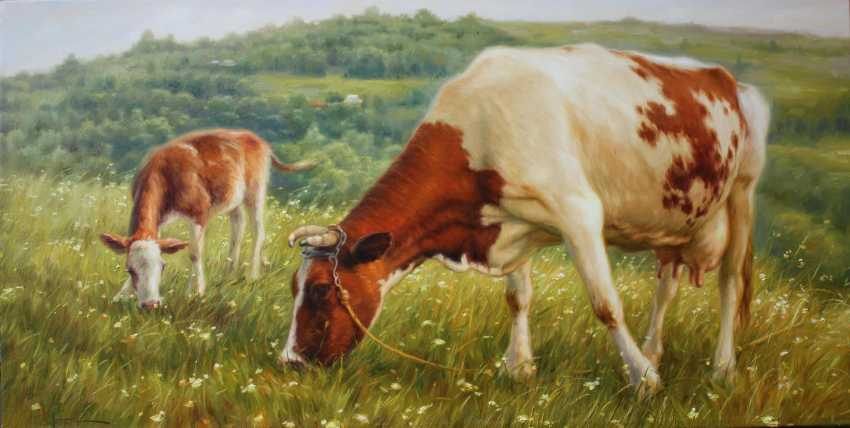 Nicholas Kaftan. Pasture, Cow and child, Cow oil painting, Original oil, Oil animals - photo 1