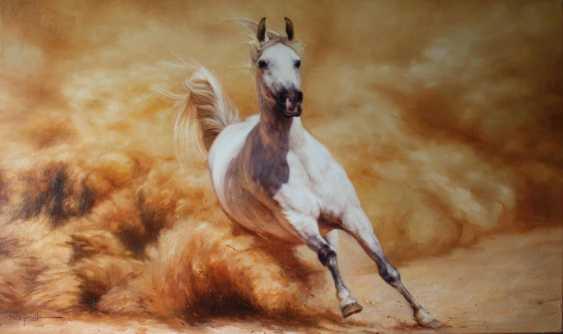 Nicholas Kaftan. Horse Racing oil, Running horse, White horse, Running white horse, White horse oil, Original oil painting - photo 1