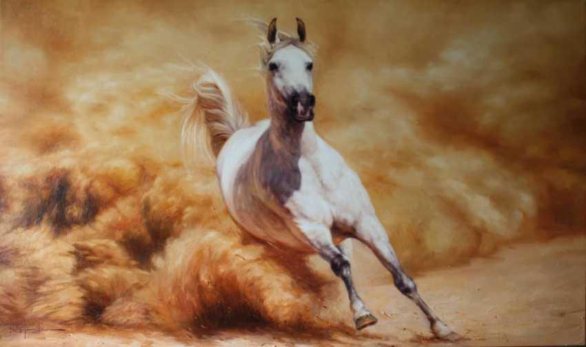 Nicholas Kaftan Pferderennen öl Running Horse White Horse
