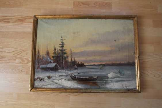 "The painting ""Winter evening on the river"" (Landscape) - photo 1"