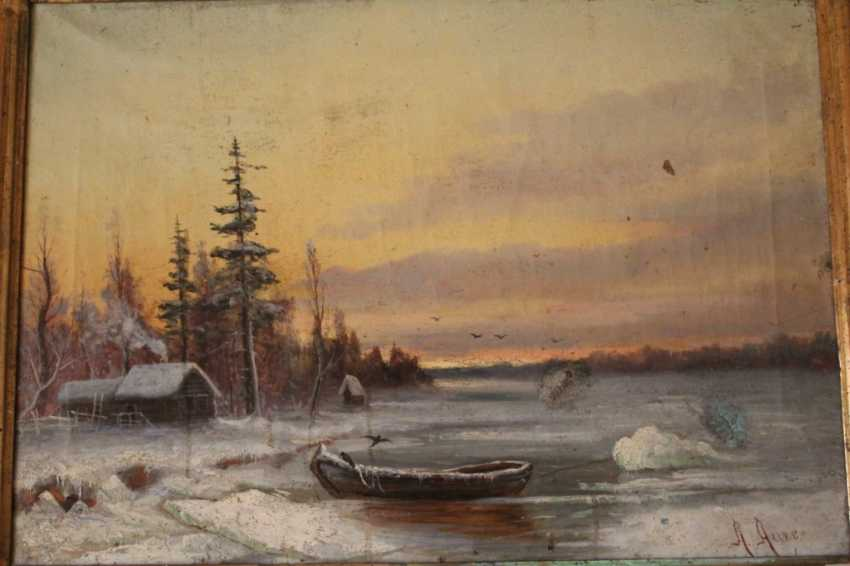 "The painting ""Winter evening on the river"" (Landscape) - photo 4"