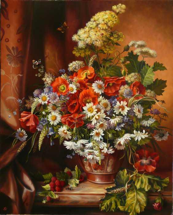 GALINA KURILENKO. Still life with wildflowers and raspberries - photo 1