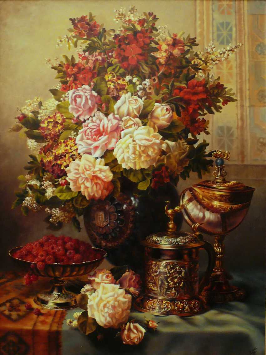 GALINA KURILENKO. still life with Cup and flowers and raspberries - photo 1