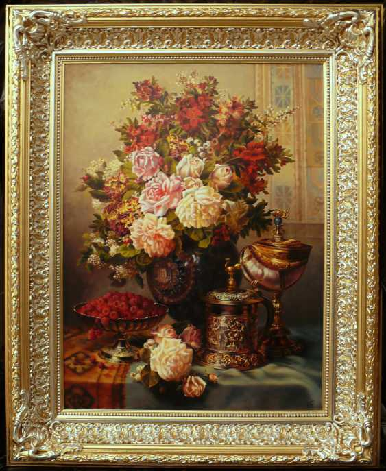 GALINA KURILENKO. still life with Cup and flowers and raspberries - photo 2