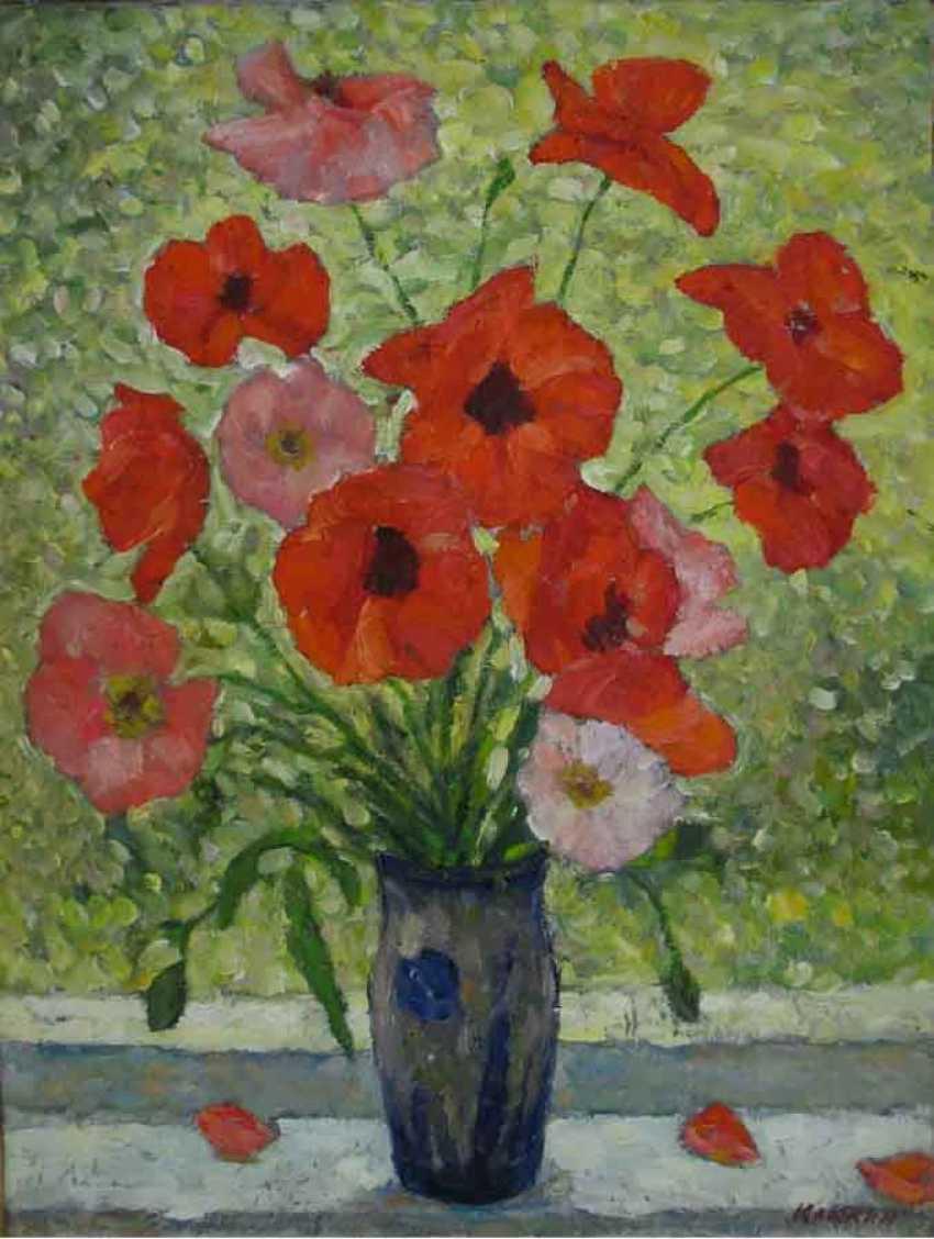 Oleg Klyukin. Poppies in a blue vase (Poppies in a blue vase) - photo 1