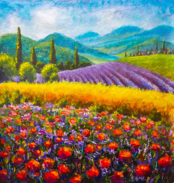Valery Rybakow. Original art: Italian summer countryside. French Tuscany. Field of red poppies, a field of yellow rye. Rural houses and high cypress trees on the hill. Mountains in the background. - photo 1