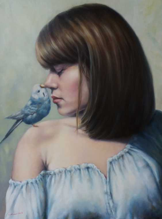 """Oleksandr Goncharov. """"Girl with parrot"""" (A girl with a parrot) - photo 1"""