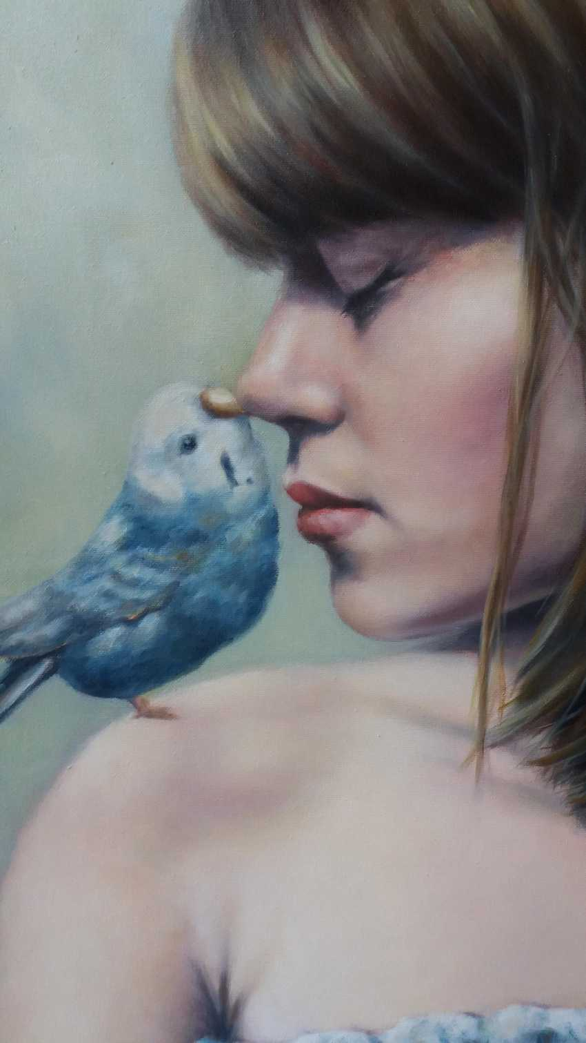 """Oleksandr Goncharov. """"Girl with parrot"""" (A girl with a parrot) - photo 2"""