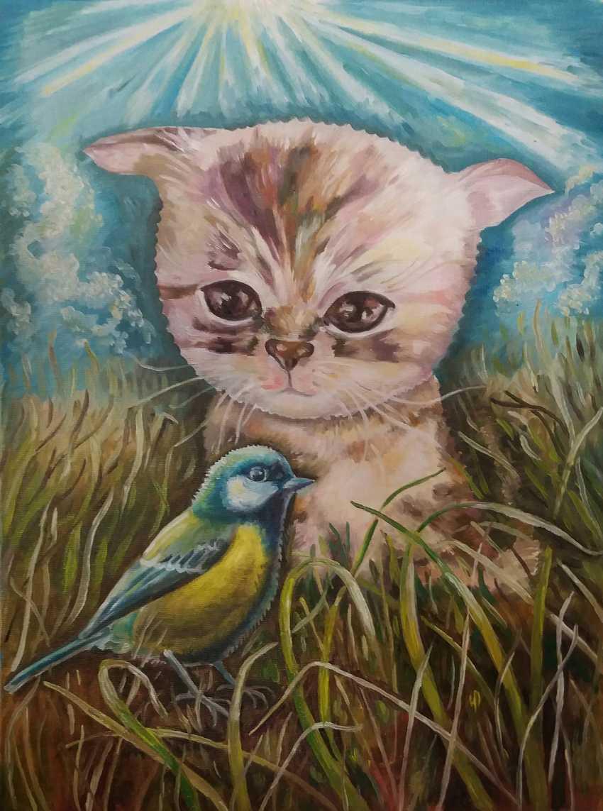 Karyna Boiko. Kitten and chickadee - photo 1