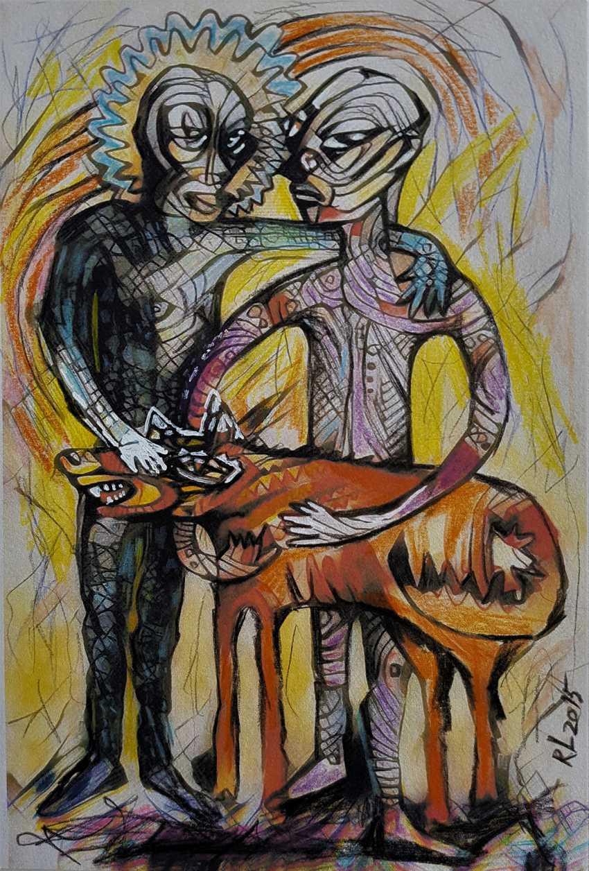 """Redas Luciunas. """"Two men and a dog"""" - photo 1"""