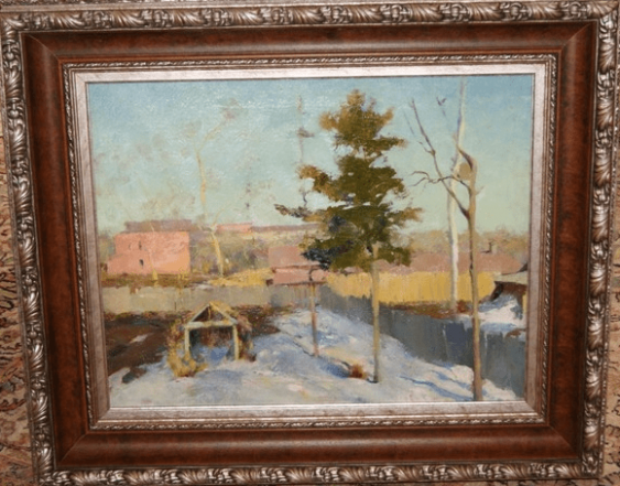 """The painting """"the Garden in March,"""" 1945 to 1950-ies.  - photo 1"""