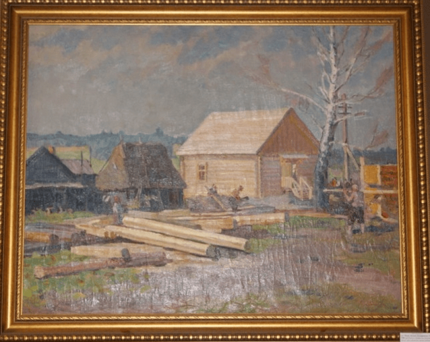 "The painting""Village construction"", 1955  - photo 1"