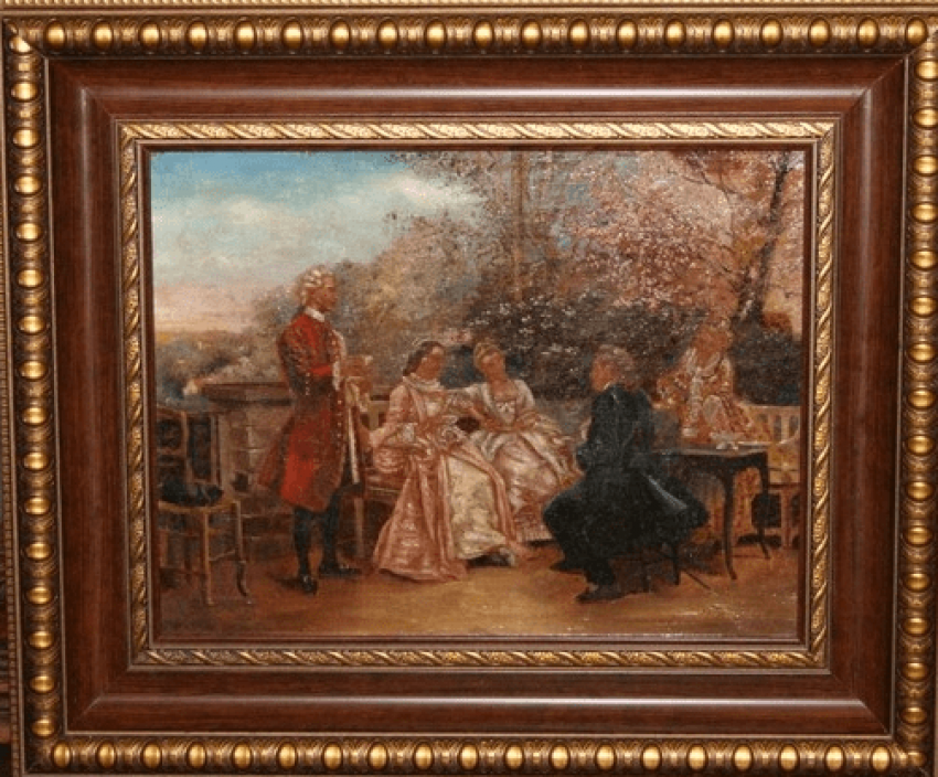 """Paintings paired """"Meeting in the garden""""beginning of the XIX century Europe - photo 1"""