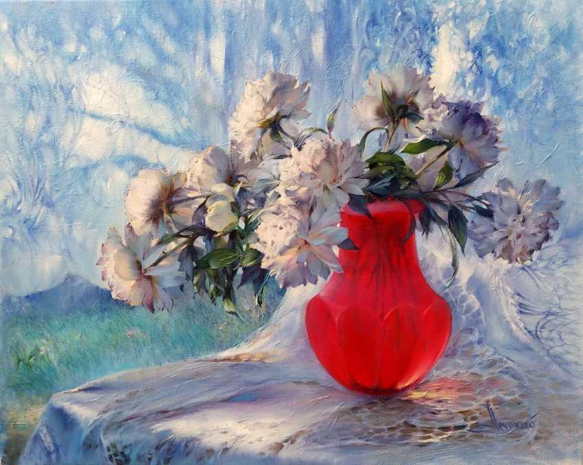 Vlad Lechehleb. Peonies in a ruby vase. - photo 1