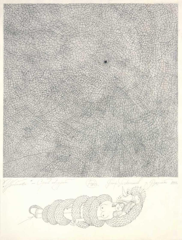 "Petr Annenkov. ""MURDER GREY SQUARE"" pencil on paper, 80x60, 1991 ""MURDER - GREY SQUARE"" paper, pencil, 80x60 1991 - photo 1"