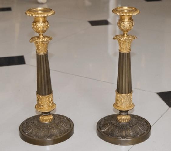 Bronze Candlesticks pair, XIX and beginning of XX century - photo 1