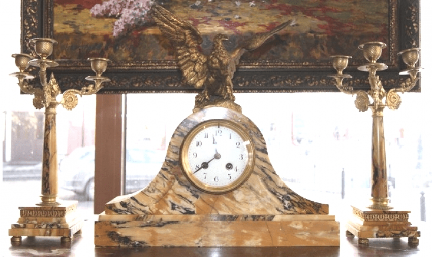 """Horloge de Cheminée seth """"l'Aigle"""", l'Europe est la 1ère paul. Du XXE siècle - photo 1"""