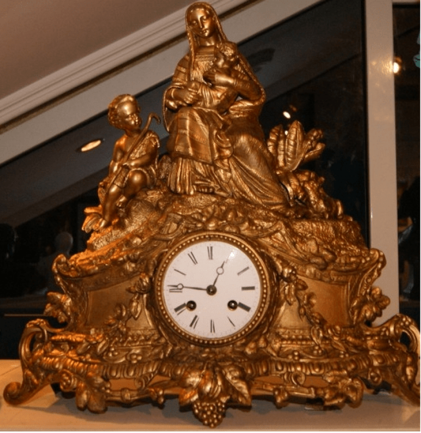 "Mantel clock ""Madonna and child"", XIX century Europe - photo 1"