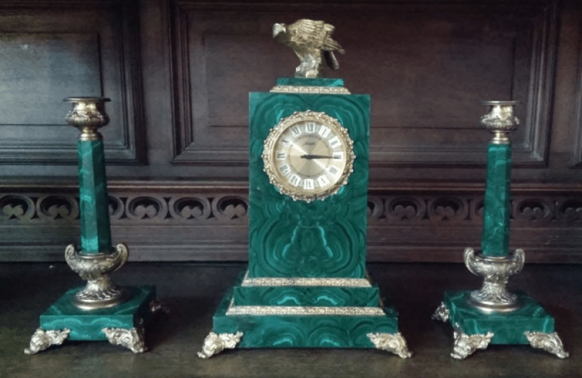 Mantel clock malachite Agat, USSR - photo 1