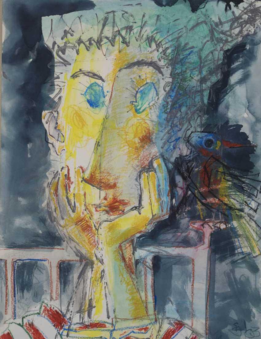 Bidzina Kavtaradze. Portrait of girl with bird. - photo 1