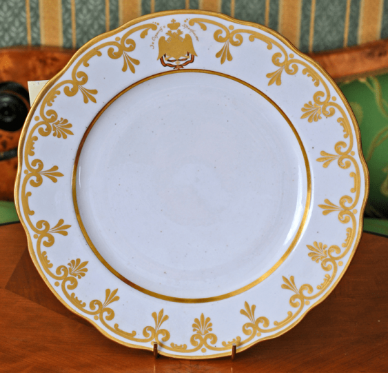 "Saucer of porcelain with the inscription ""For service and bravery"" - photo 1"