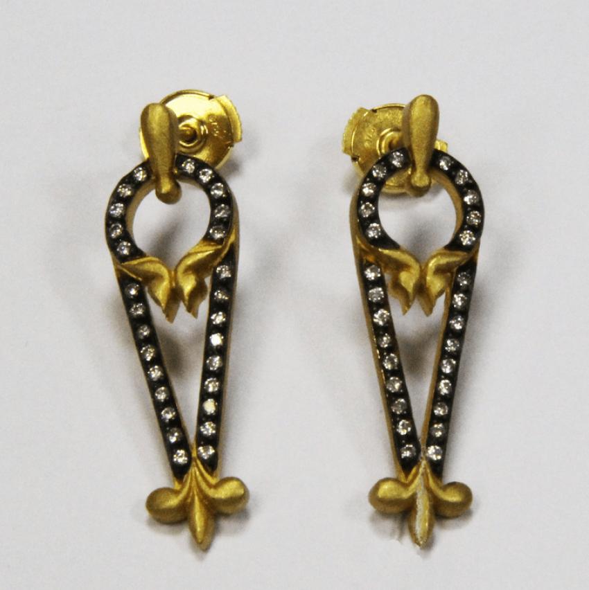 Серьги золото, бриллианты Золото 750 - 8,52 г - фото 1