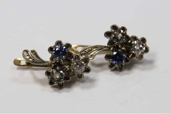 Серьги золото, бриллиант, сапфиры  - фото 1