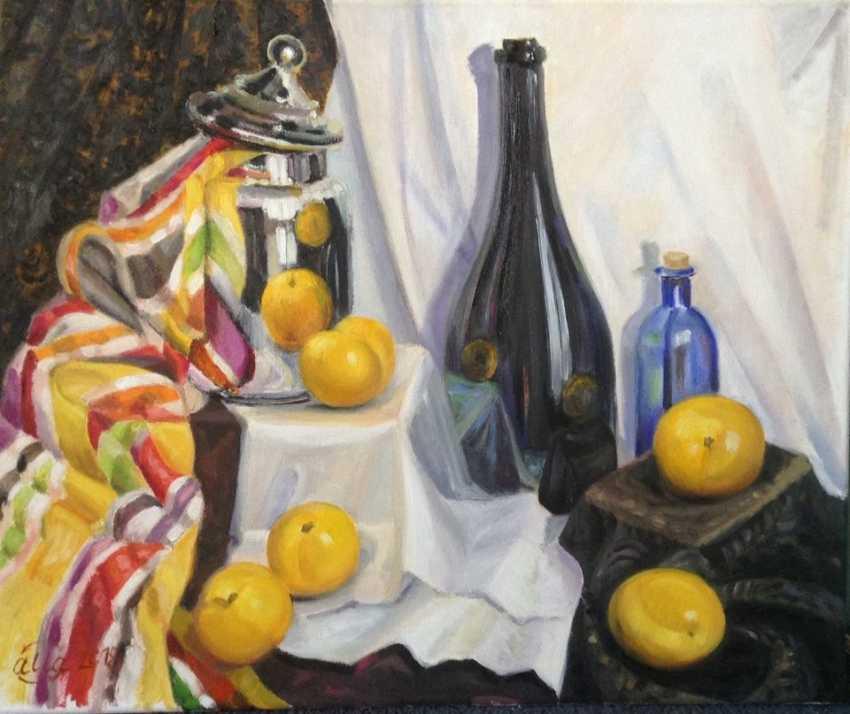 Alla Senatorova. Black bottle and yellow plums. - photo 1