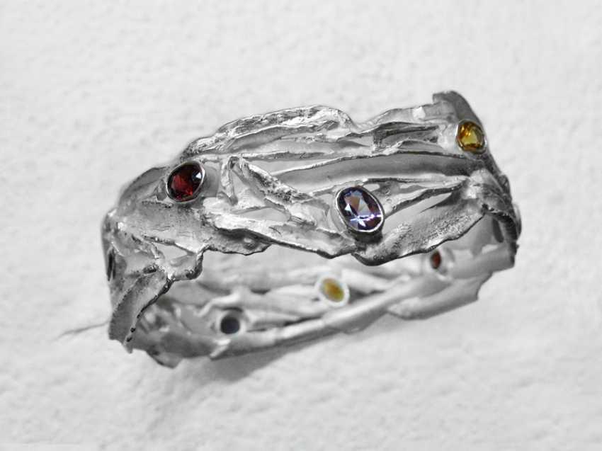 Roman Volkov. Silver bracelet with semi-precious stones( garnet, amethyst, citrine, peridot). - photo 3