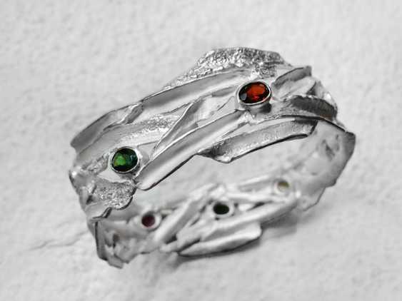 Roman Volkov. Silver bracelet with semi-precious stones( garnet, amethyst, citrine, peridot). - photo 4