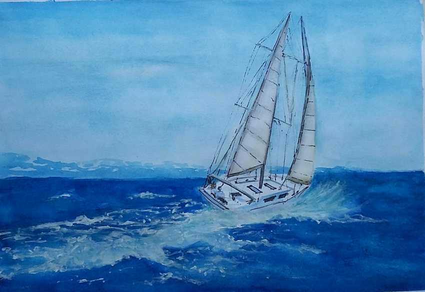 "Anastasia Beytuzun. Watercolor "" Sea walk "" - photo 1"