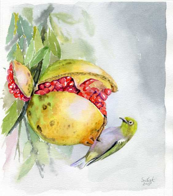 Smbat Bagdasarian. Ripe pomegranate and the bird - photo 1