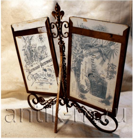 Frame for a photo. Brass, enamel, glass. - photo 2