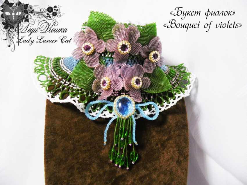 "Irina Shapoval. Necklace ""Bouquet of violets"" - photo 2"