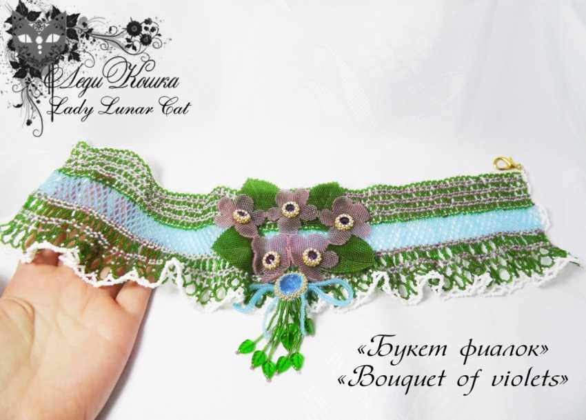 "Irina Shapoval. Necklace ""Bouquet of violets"" - photo 3"