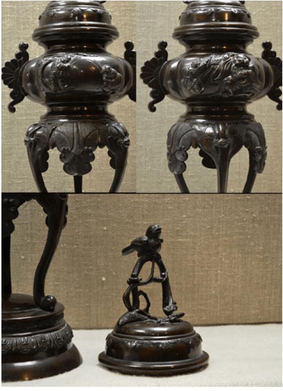 Vase-burn bronze Japan, MEIJI period - photo 2