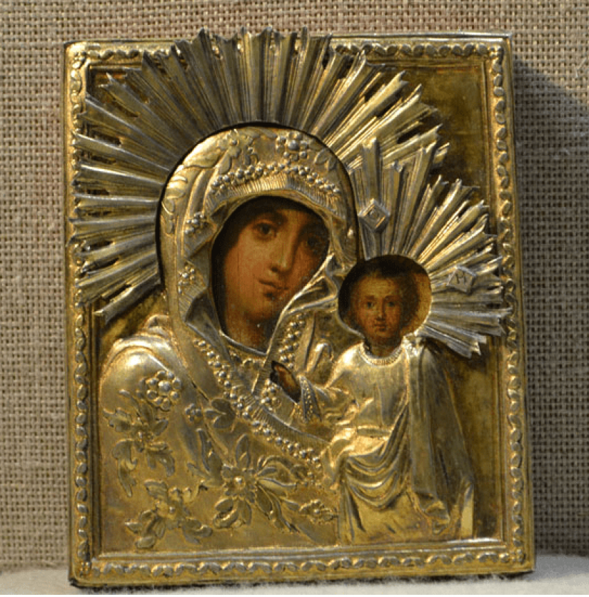 The icon of the Kazan mother of God silver 84 PR - photo 1