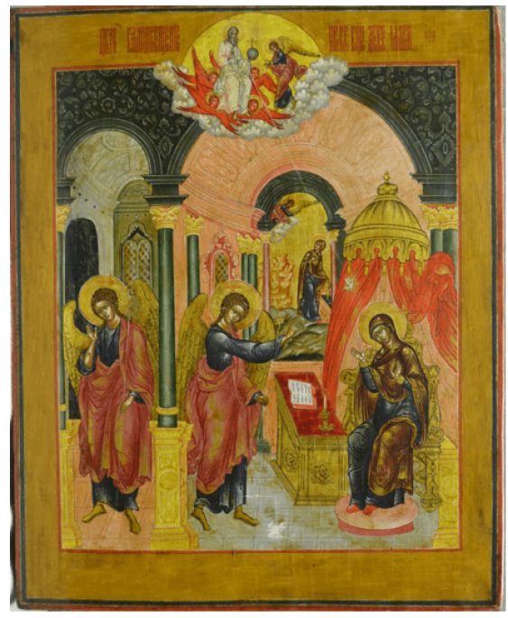 The icon of the Annunciation tempera on wood, tinsel - photo 1