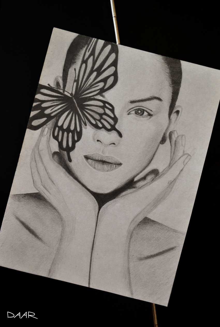 Maria Daar. PORTRAIT WITH BUTTERFLY. Graphics. Maria Daar - photo 1