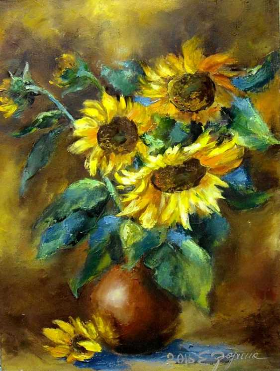 Elena Zorina. Sunflowers in a vase - photo 1