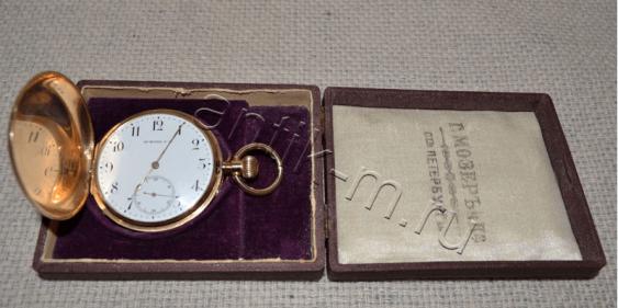 "Pocket watch ""G. Mozer's"" gold 56 samples - photo 2"