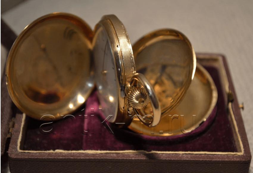 "Pocket watch ""G. Mozer's"" gold 56 samples - photo 3"