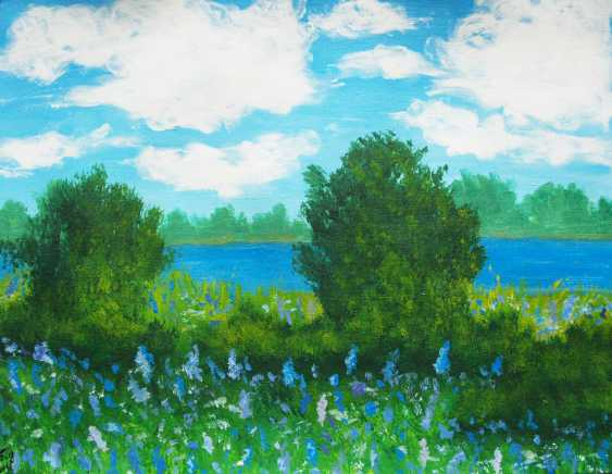 nino gudadze. Original Acrylic Landscape Painting Blue Flower field - photo 1